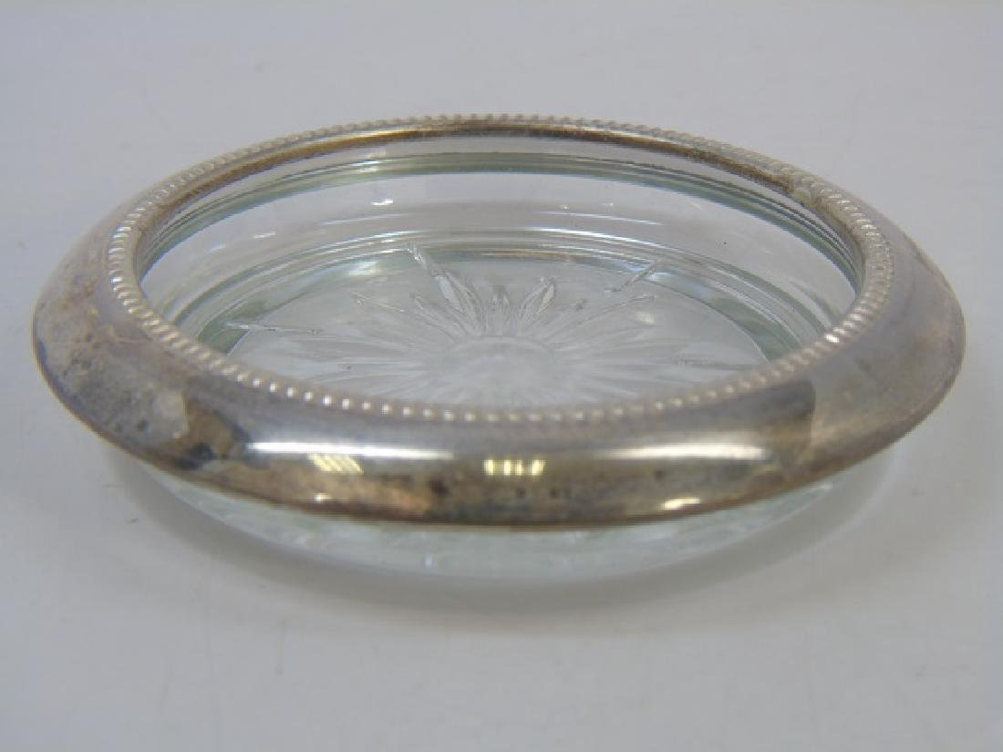 Set of Silver Plate & Crystal Coasters - 3