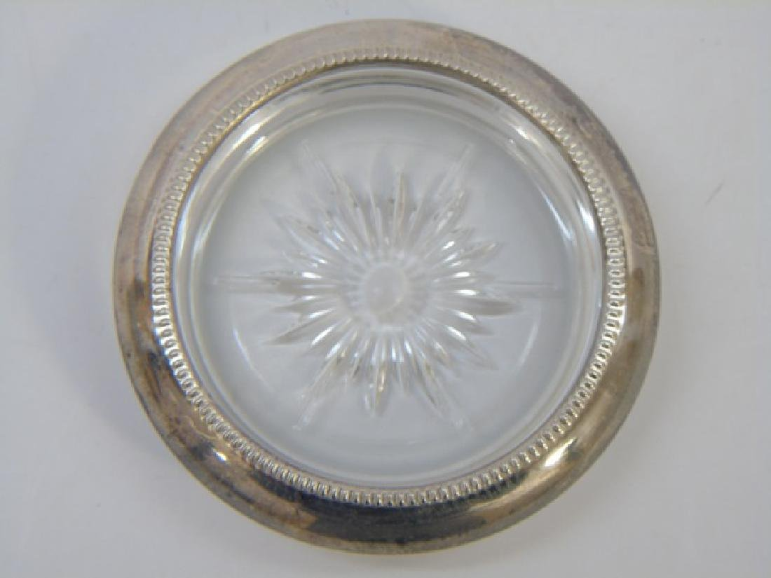 Set of Silver Plate & Crystal Coasters - 4