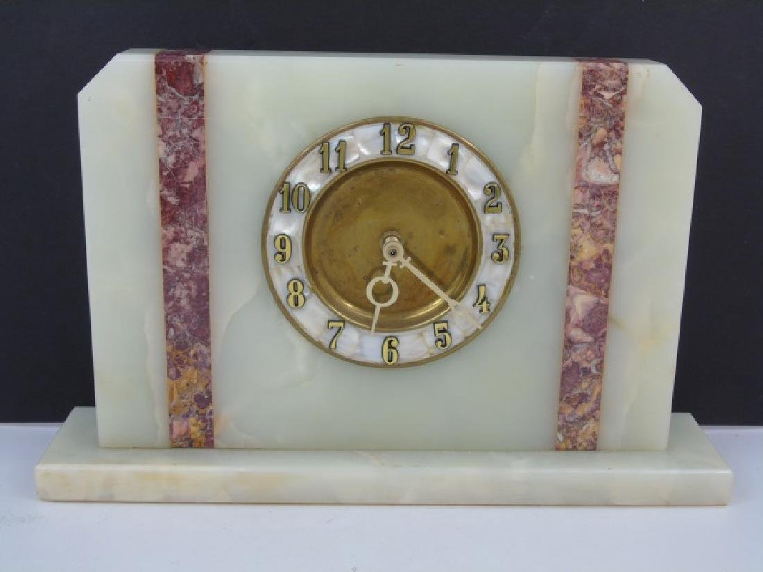 Art Deco Style Marble & Mother of Pearl Clock