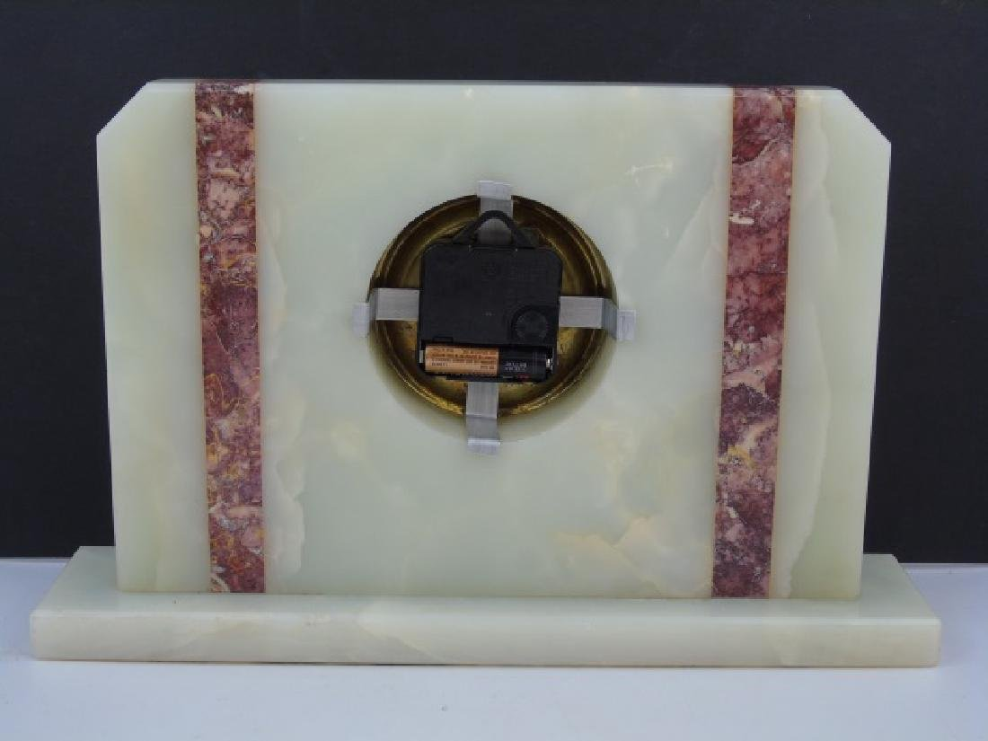 Art Deco Style Marble & Mother of Pearl Clock - 3