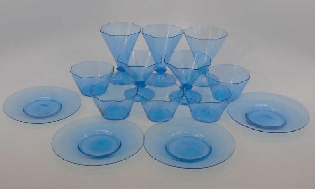 Antique Blown Art Glass Blue Colored Dessert Set