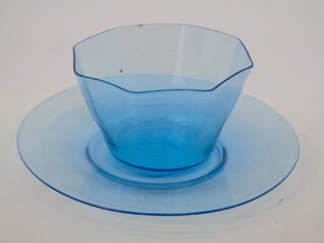 Antique Blown Art Glass Blue Colored Dessert Set - 2