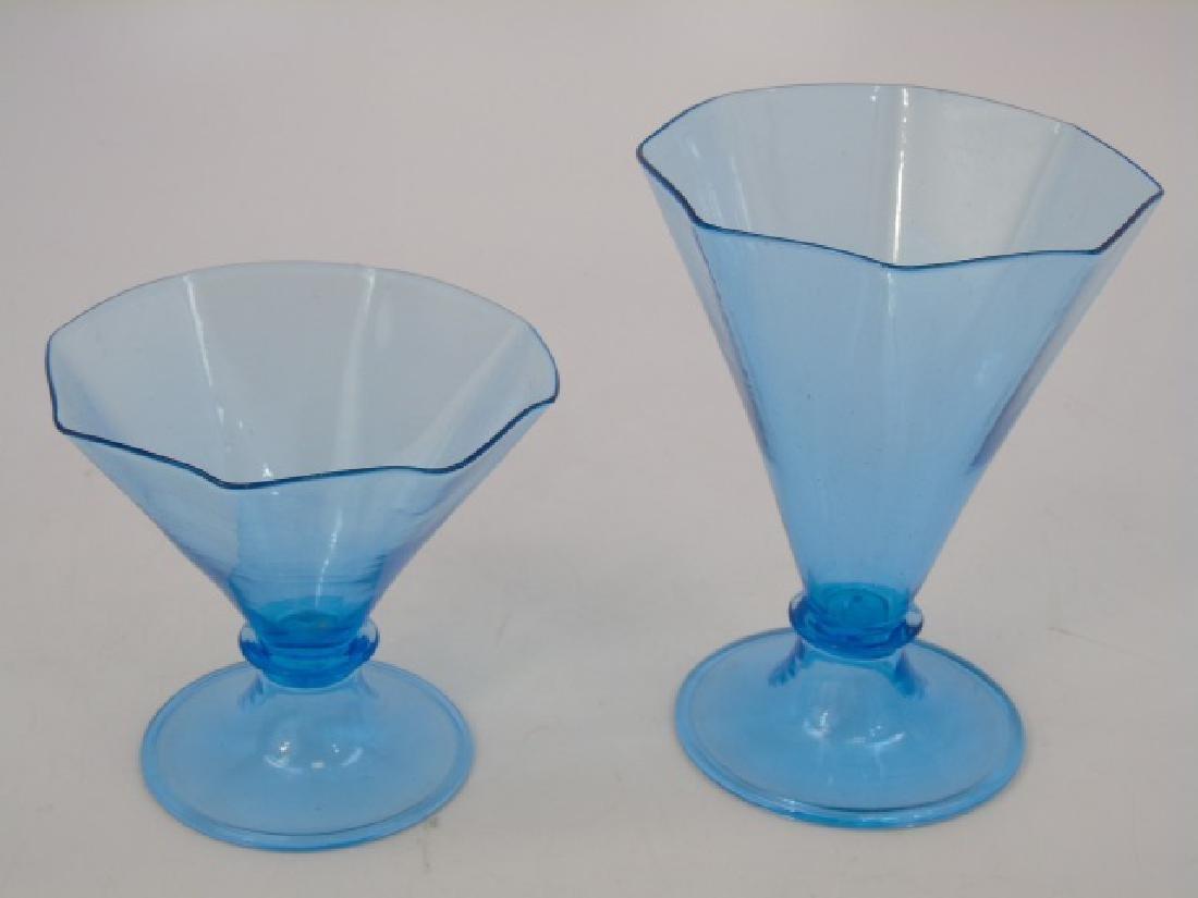 Antique Blown Art Glass Blue Colored Dessert Set - 3