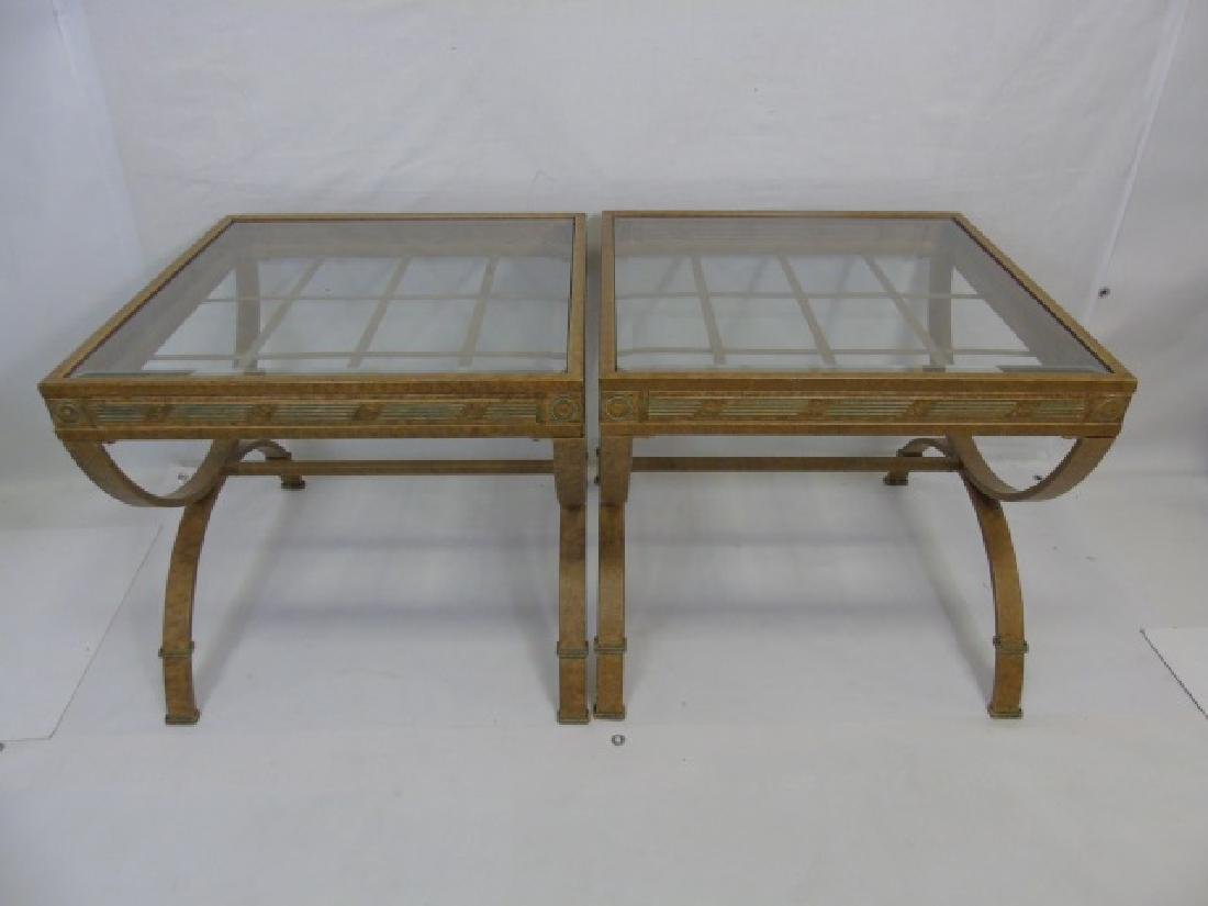 Pair Contemporary Metal Frame End Tables