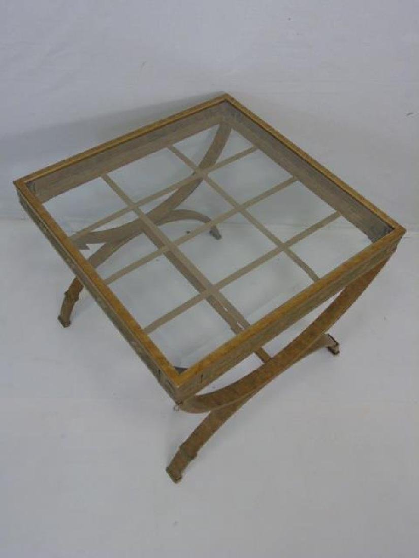 Pair Contemporary Metal Frame End Tables - 2