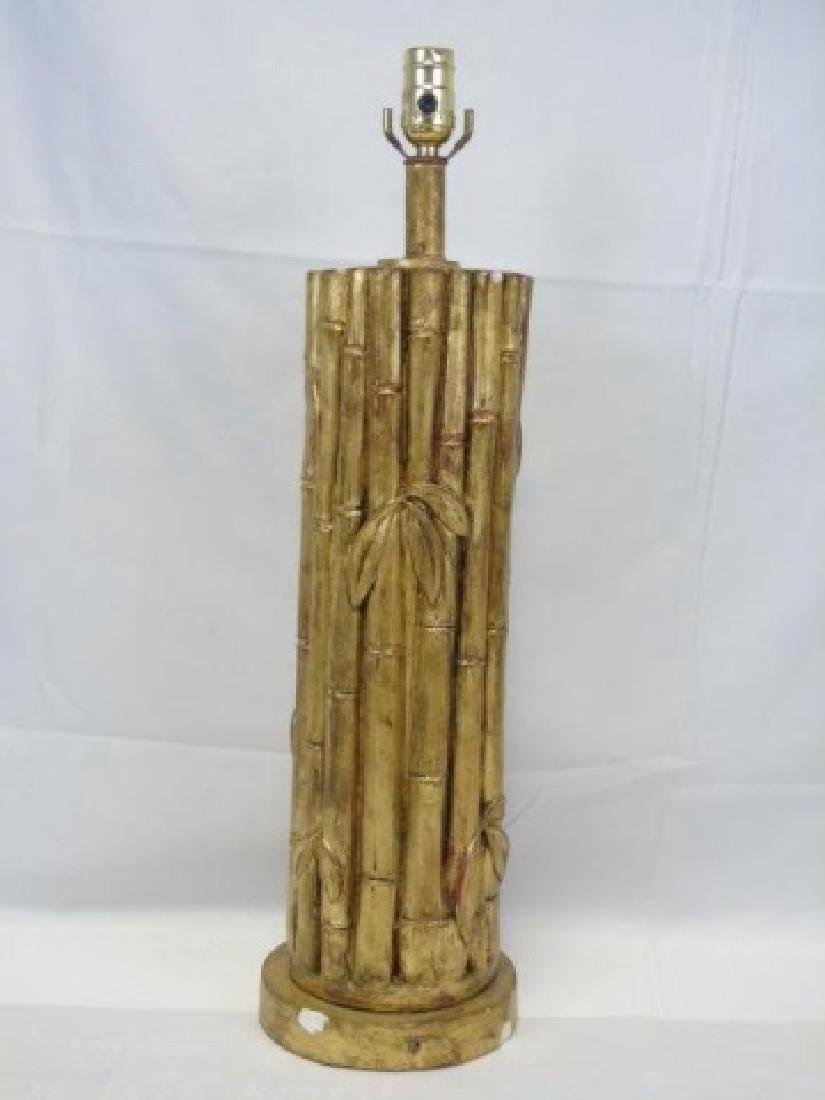 Hollywood Regency Faux Carved Bamboo Lamp
