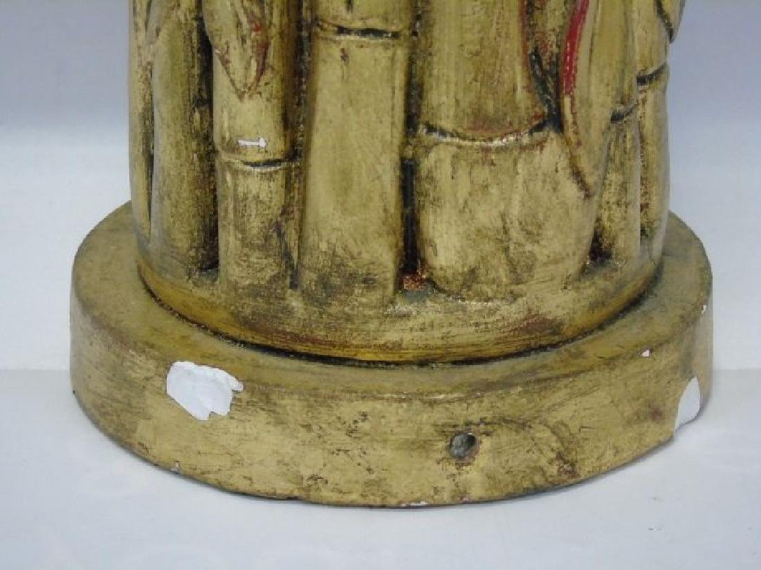 Hollywood Regency Faux Carved Bamboo Lamp - 3