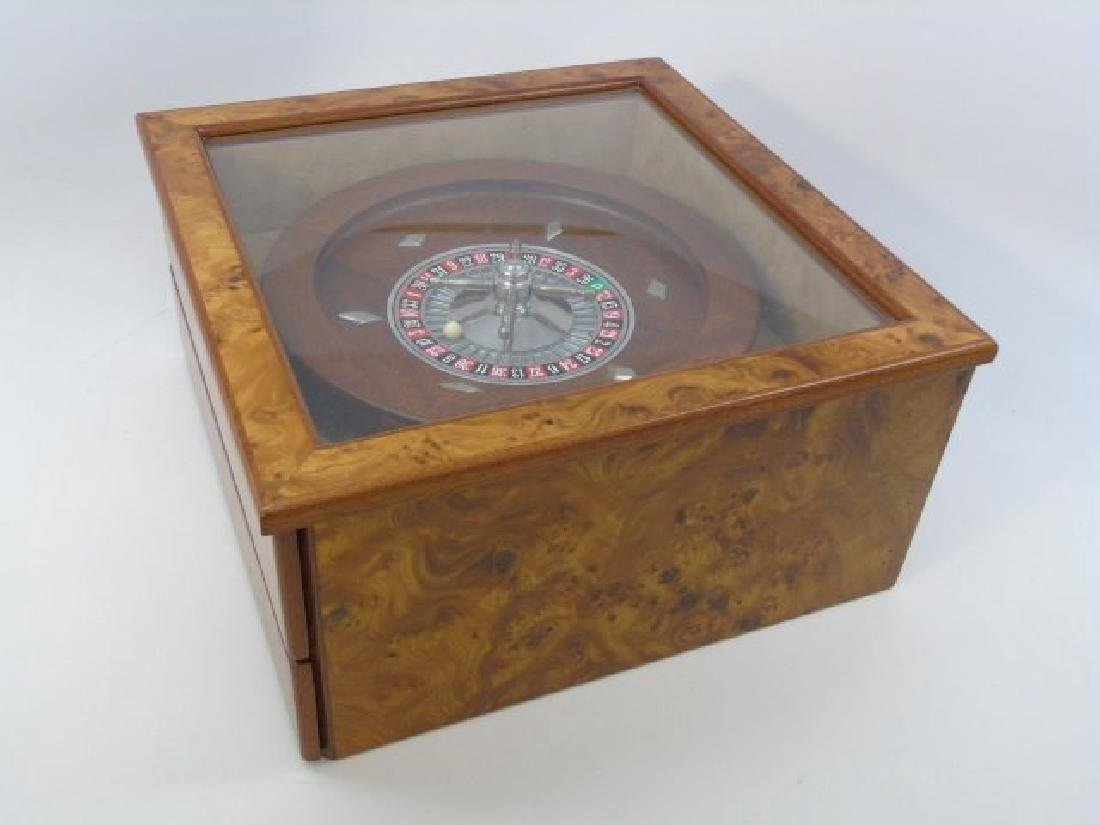 Vintage Burled Wood Roulette Games Table Piece