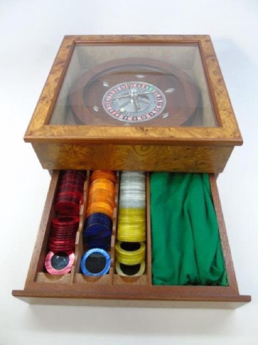 Vintage Burled Wood Roulette Games Table Piece - 2