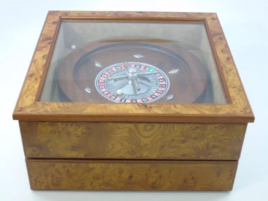 Vintage Burled Wood Roulette Games Table Piece - 3