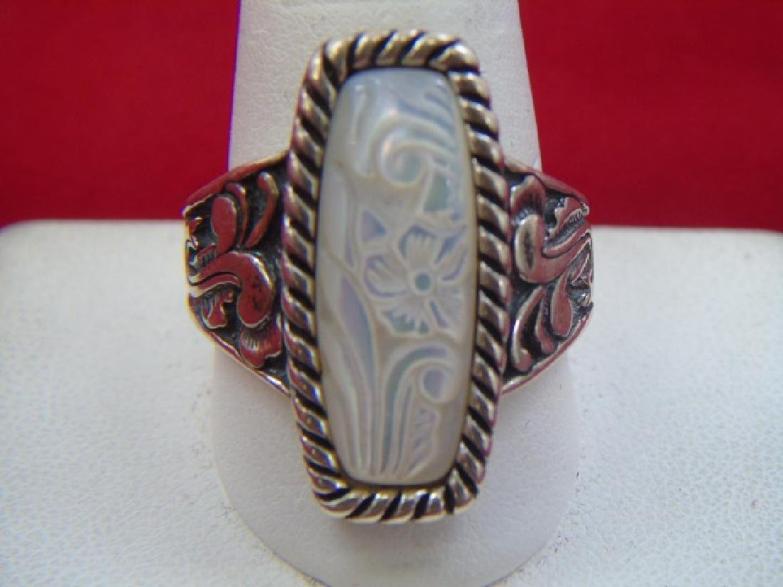 Three Sterling Silver Rings - Filigree & Stones - 2