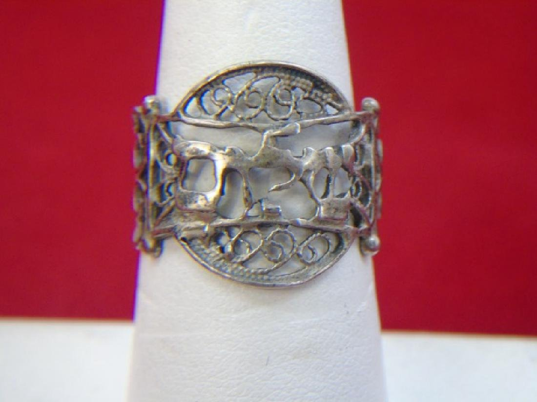 Three Sterling Silver Rings - Filigree & Stones - 4