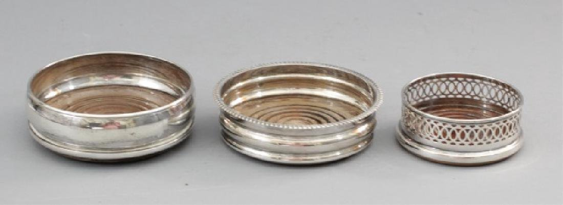 Set of 3 Silver Plated Wine Bottle Coasters