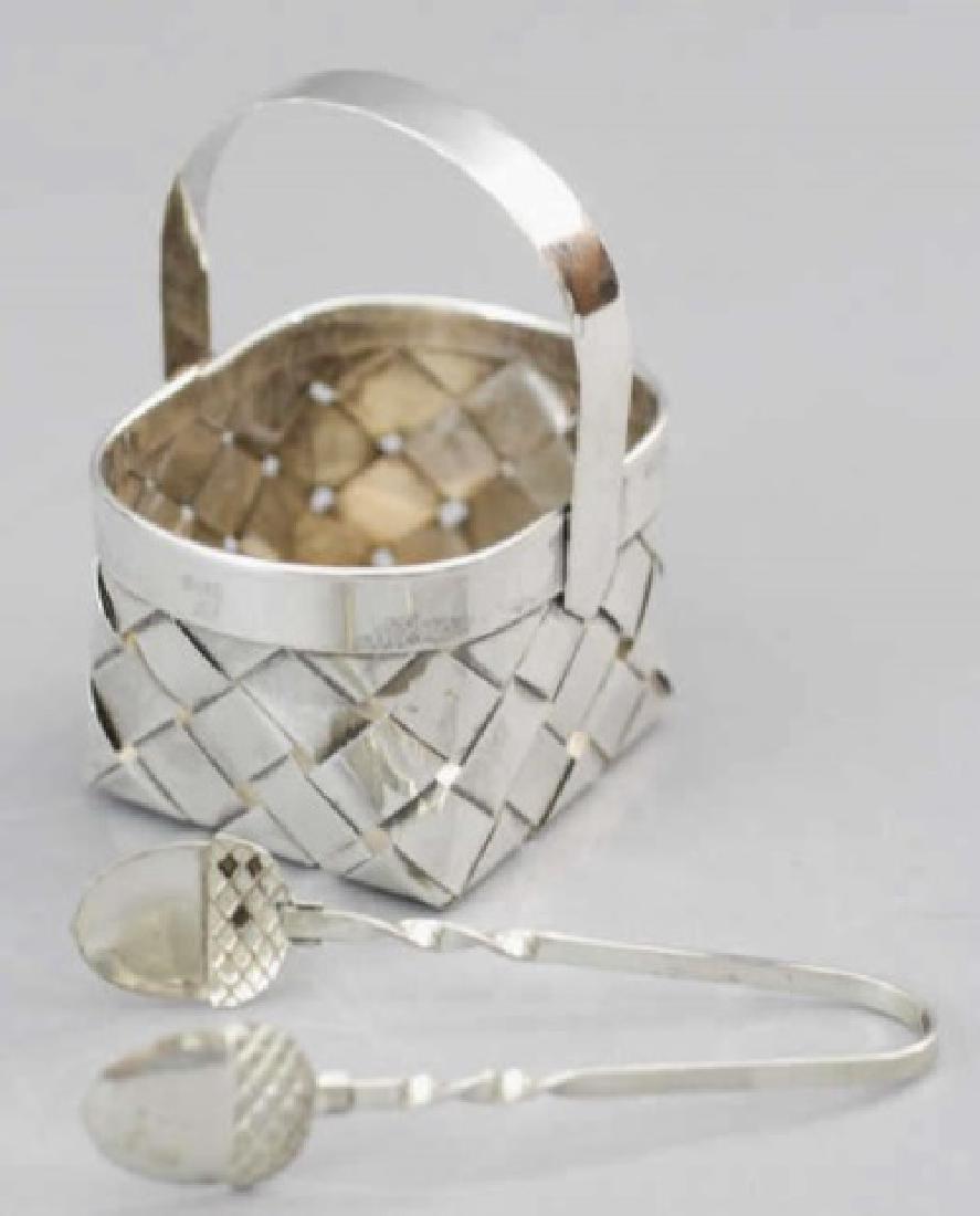 Cartier Sterling Silver Basket w Acorn Tip Tongs