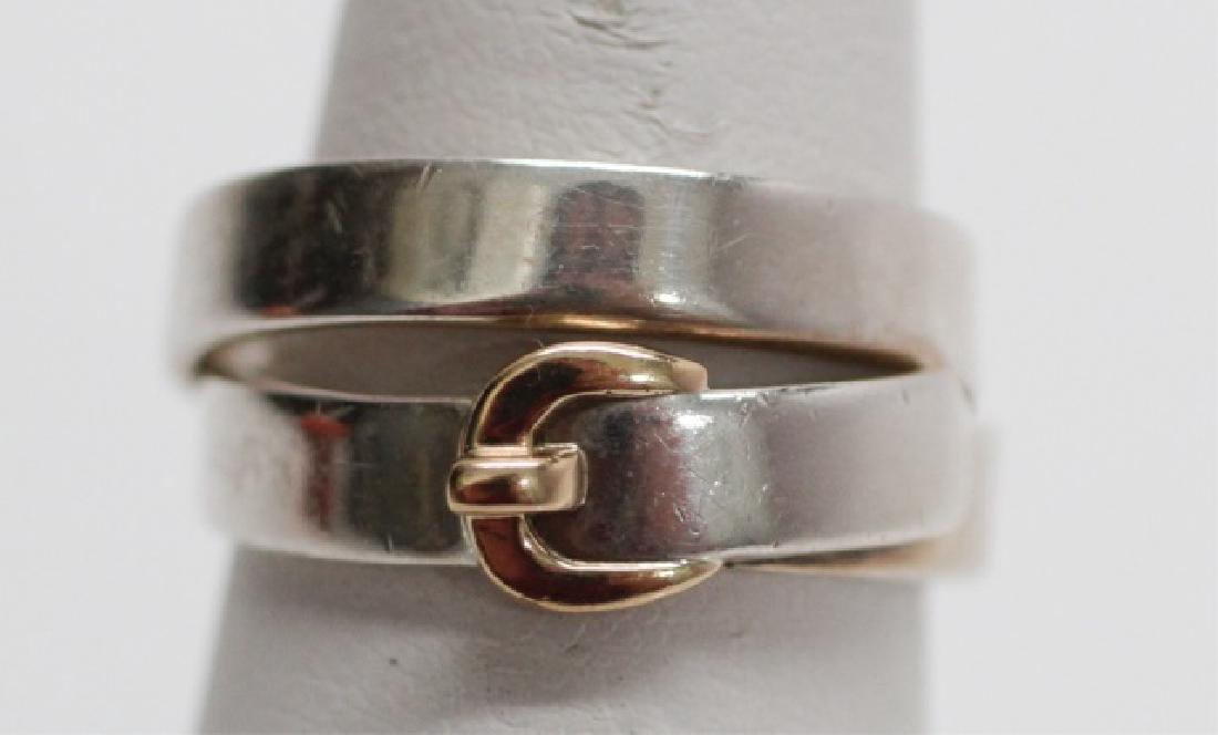 HERMES 18k Gold & Sterling Silver Belt Buckle Ring