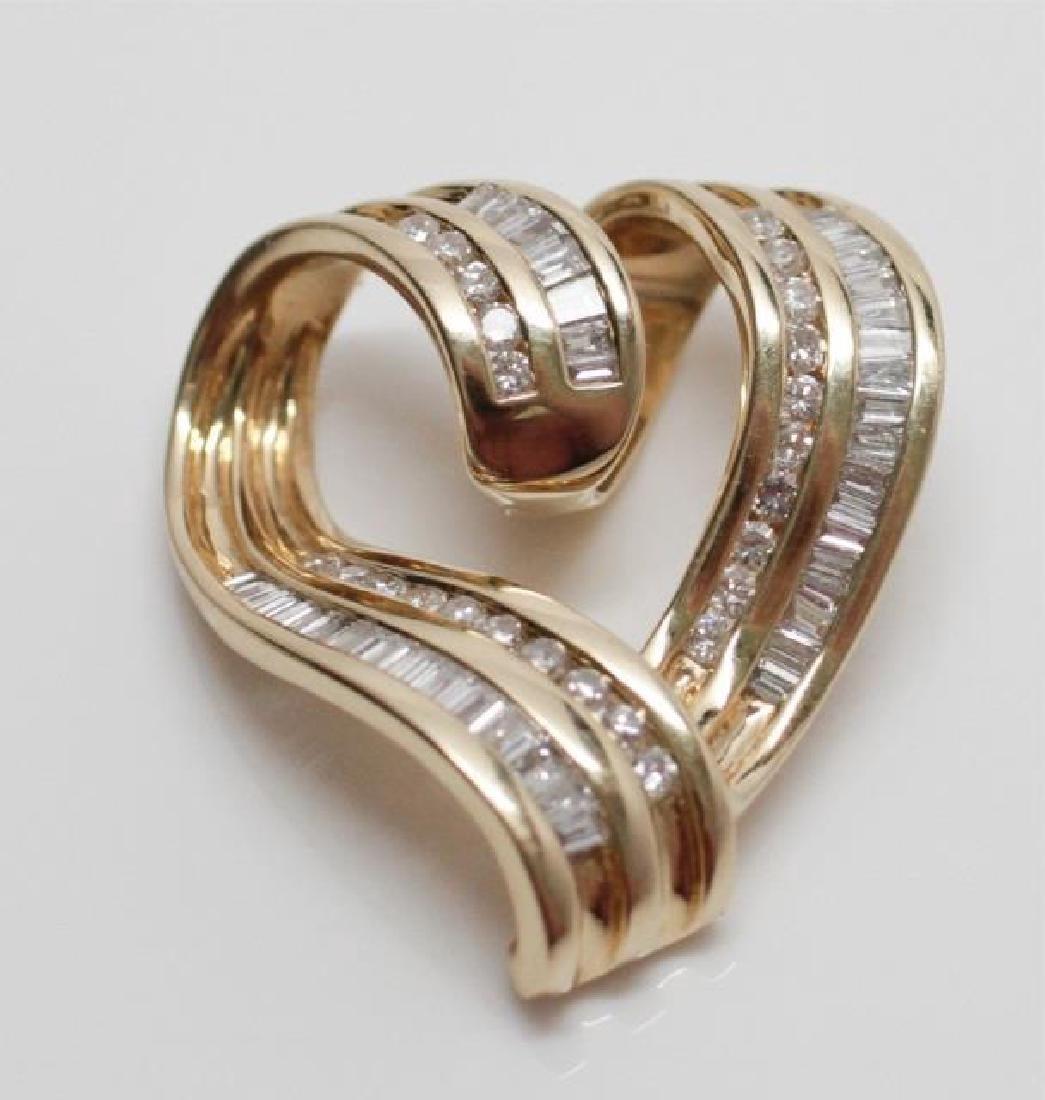 Retro 14kt Yellow Gold & Diamond Heart Pendant