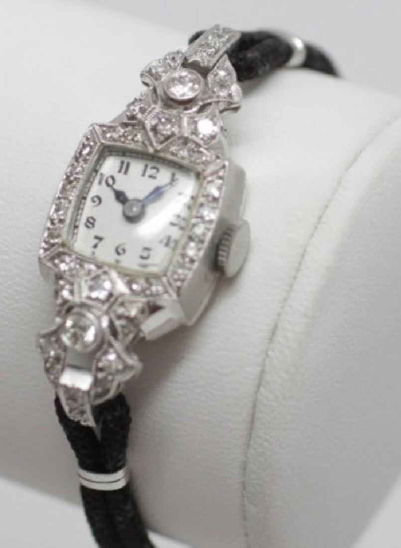 Estate Art Deco Ladies Diamond & Platinum Watch