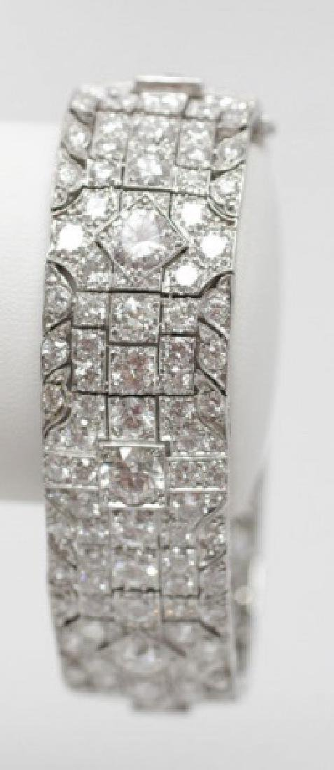 Estate Platinum Art Deco 30 Carat Diamond Bracelet - 2