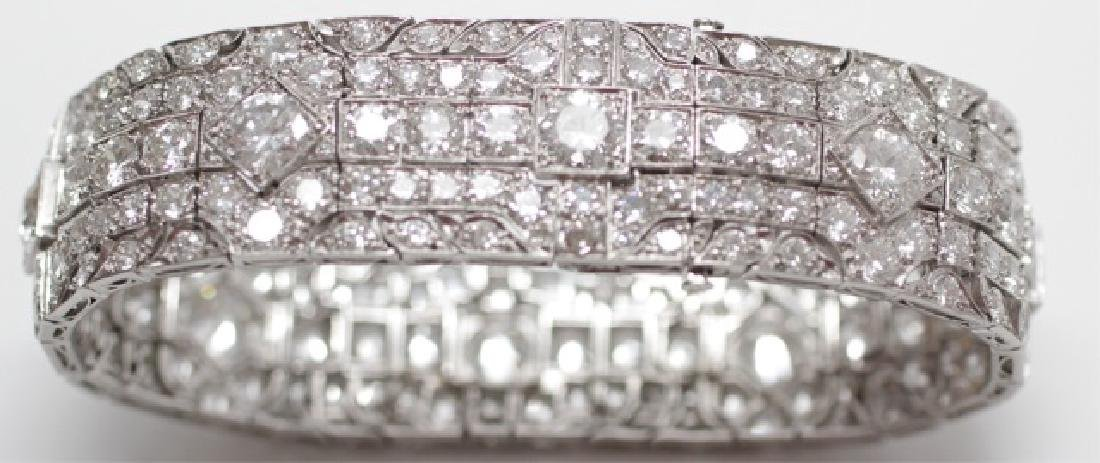 Estate Platinum Art Deco 30 Carat Diamond Bracelet - 3