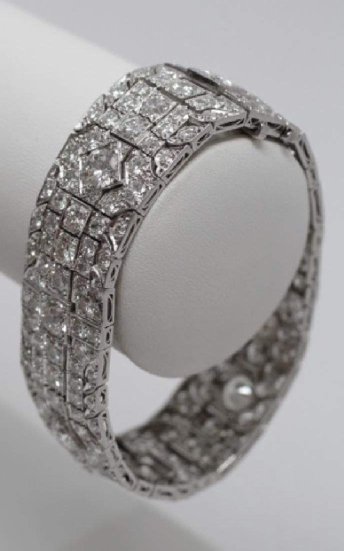 Estate Platinum Art Deco 30 Carat Diamond Bracelet - 4