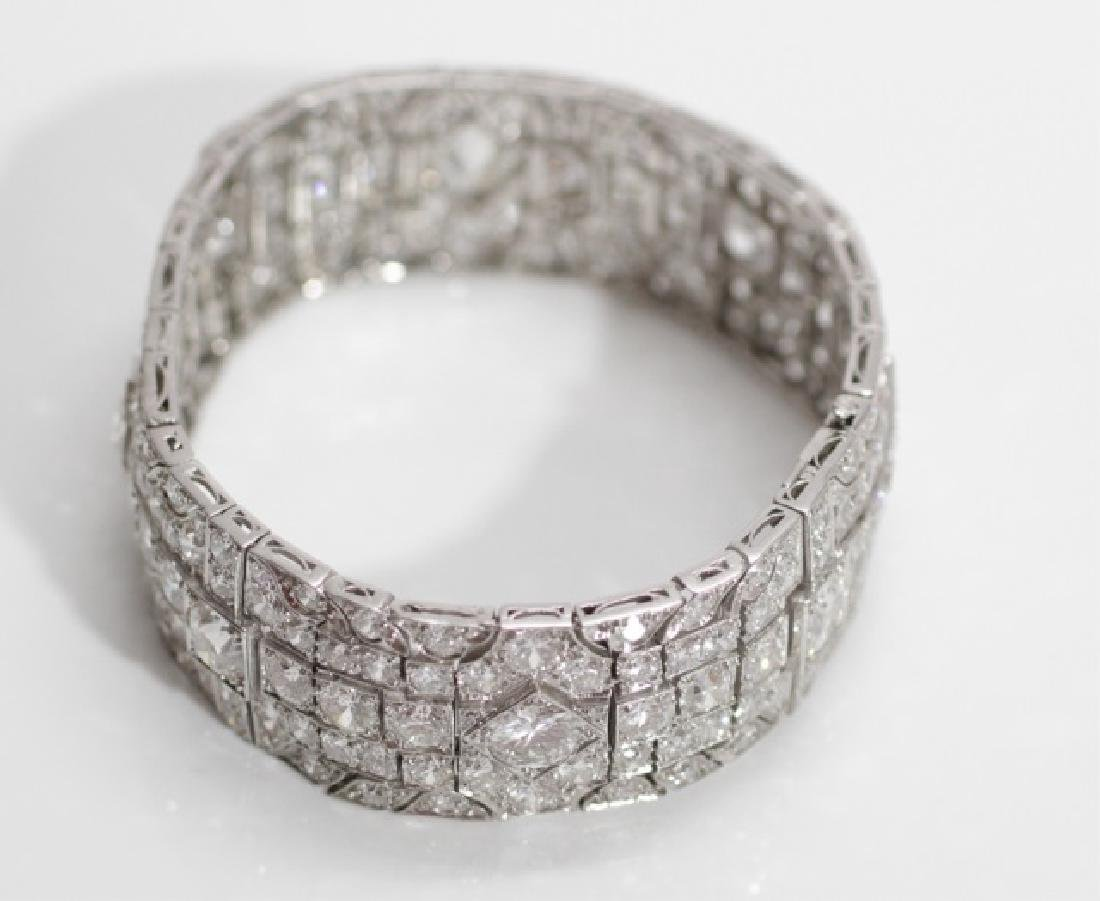 Estate Platinum Art Deco 30 Carat Diamond Bracelet - 8