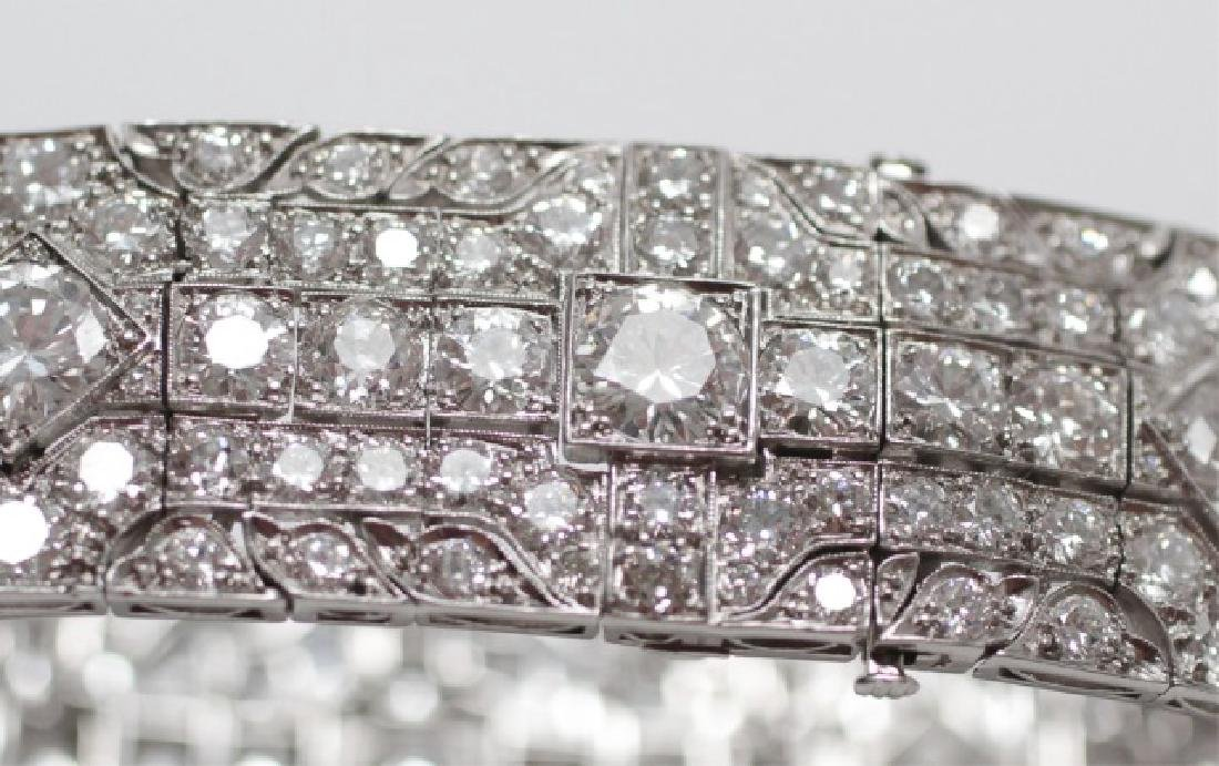 Estate Platinum Art Deco 30 Carat Diamond Bracelet - 9