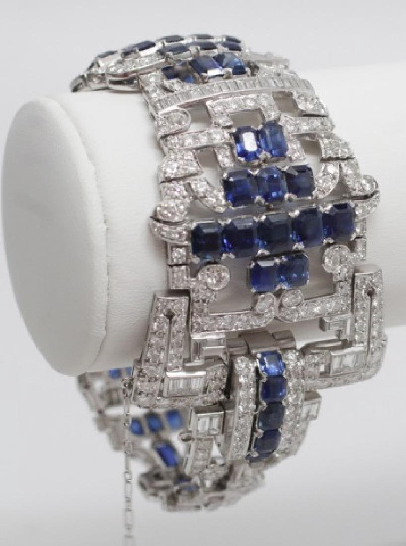 Estate Platinum Diamond Sapphire Art Deco Bracelet