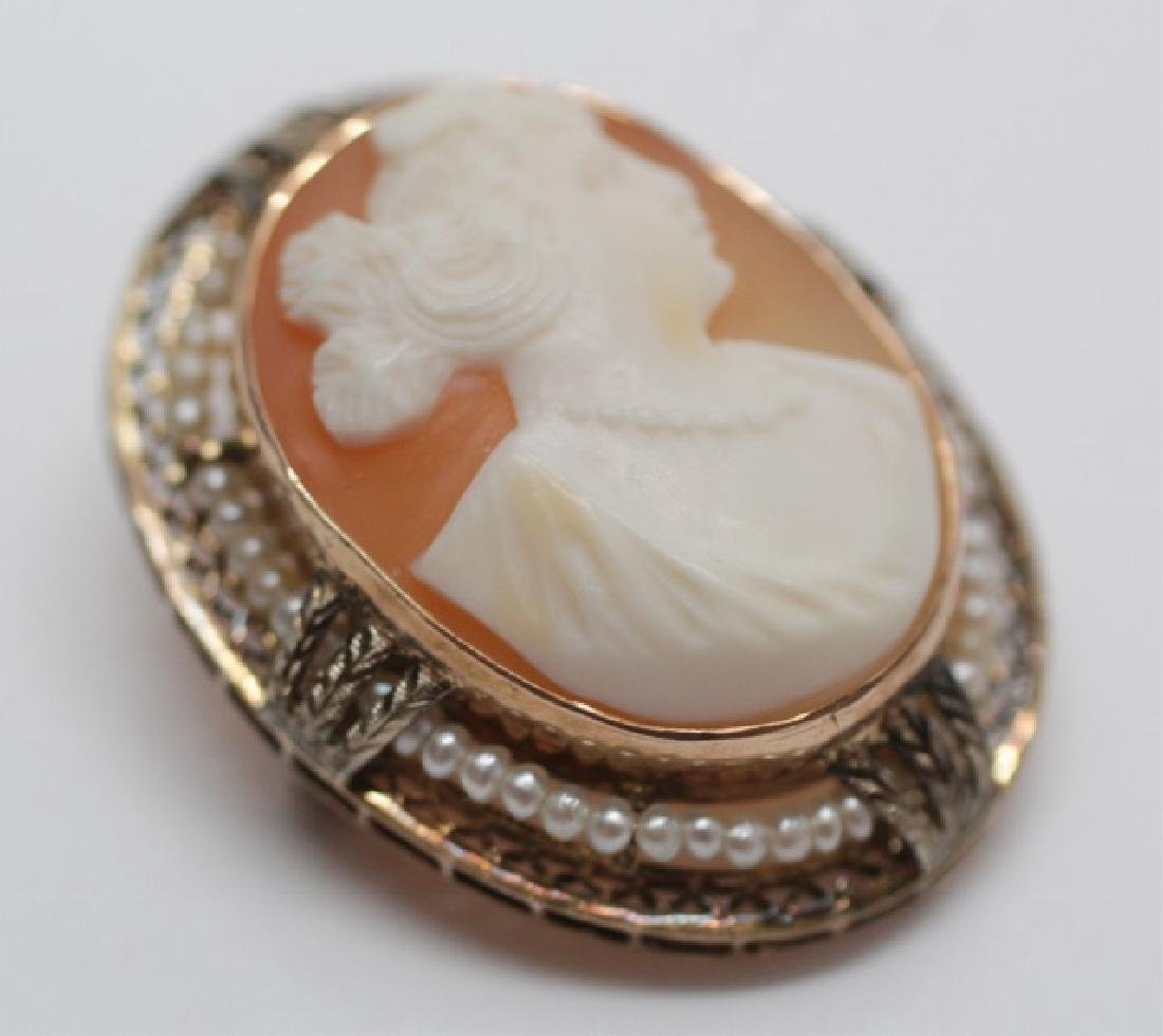 Antique 10k Gold Seed Pearl & Shell Cameo Pendant