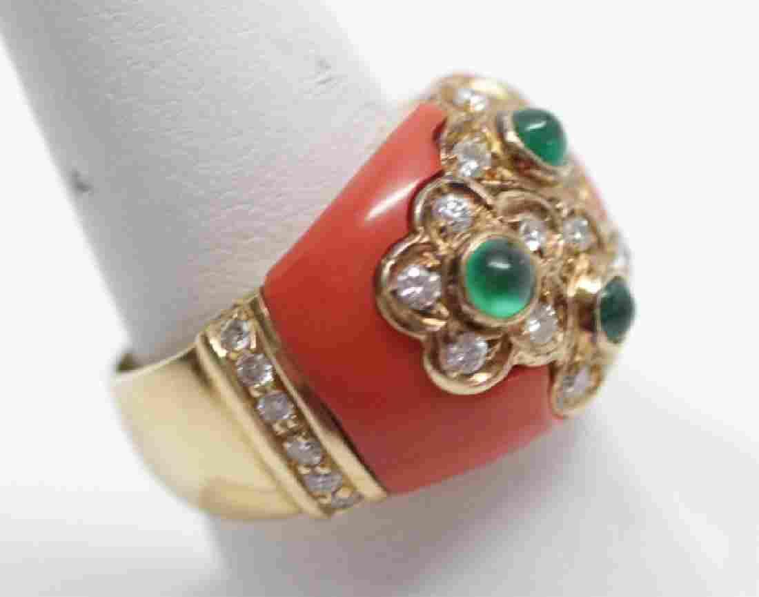 Estate Italian 18kt Yellow Gold Coral Diamond Ring
