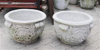 Pair Corinthian Style Cast Stone Garden Urns