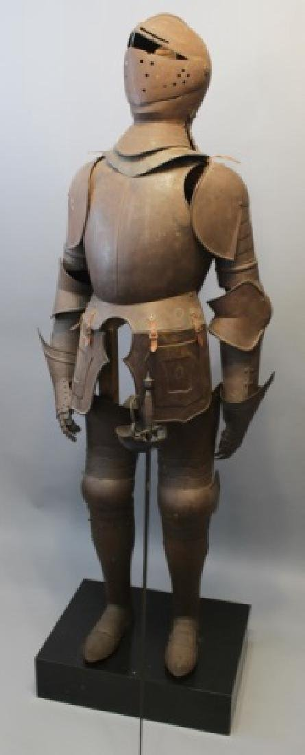 Antique Continental Suit of Armor & Sword on Stand