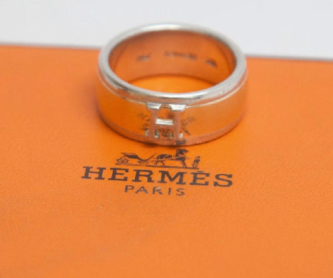 Hermes 18k Gold & Sterling Silver H Ring in Box