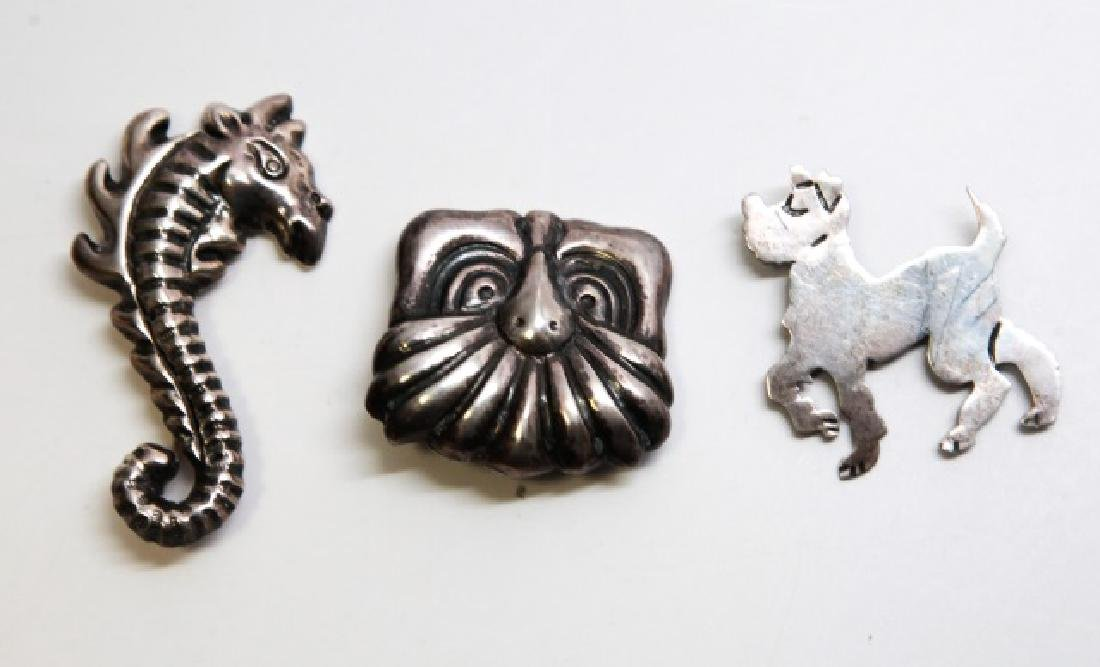 3 Vintage Mexico Sterling Silver Figural Brooches