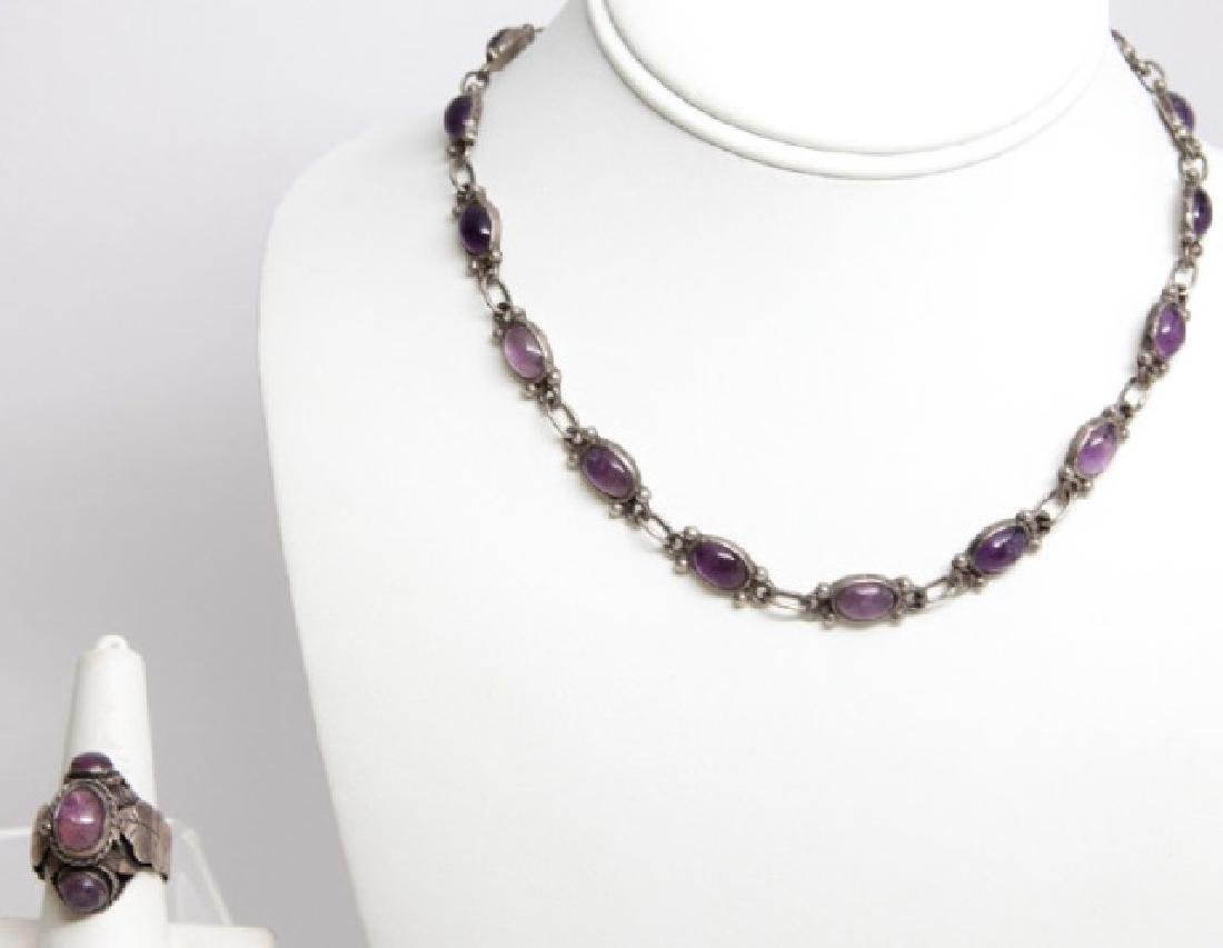 Vintage Mexico Sterling & Amethyst Necklace & Ring
