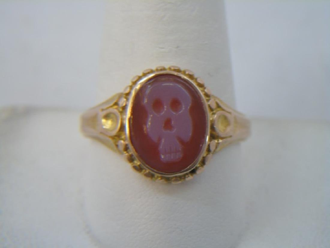 Antique English 15k Gold Ring w New Skull Intaglio
