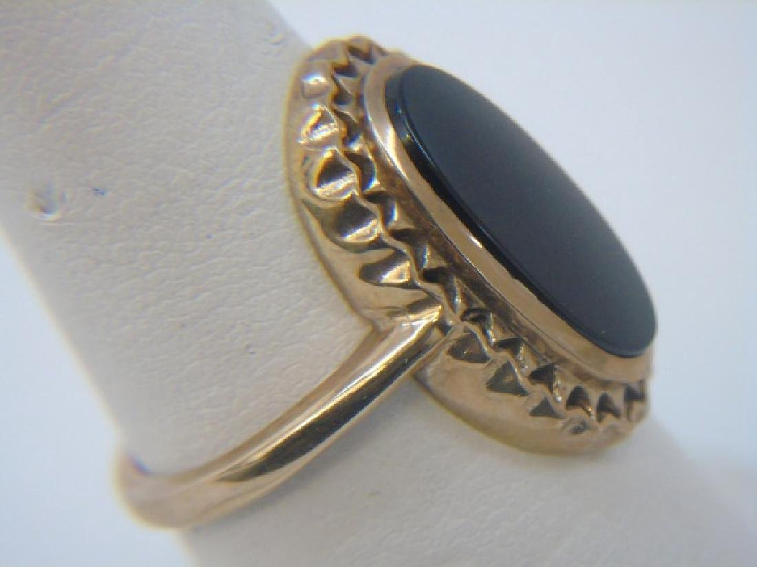 Estate Antique 10kt Yellow Gold & Onyx Ring