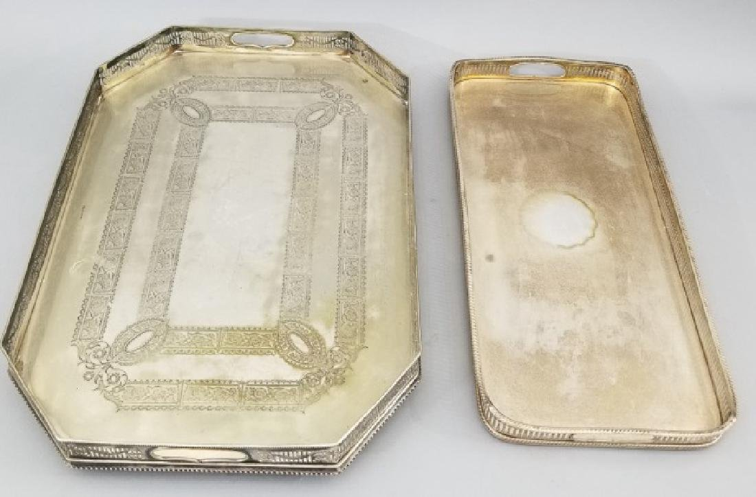 Two Silver Plate English Style Trays w Galleries