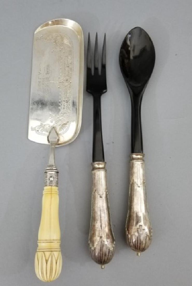 3 Large Antique Sterling Silver Serving Utensils