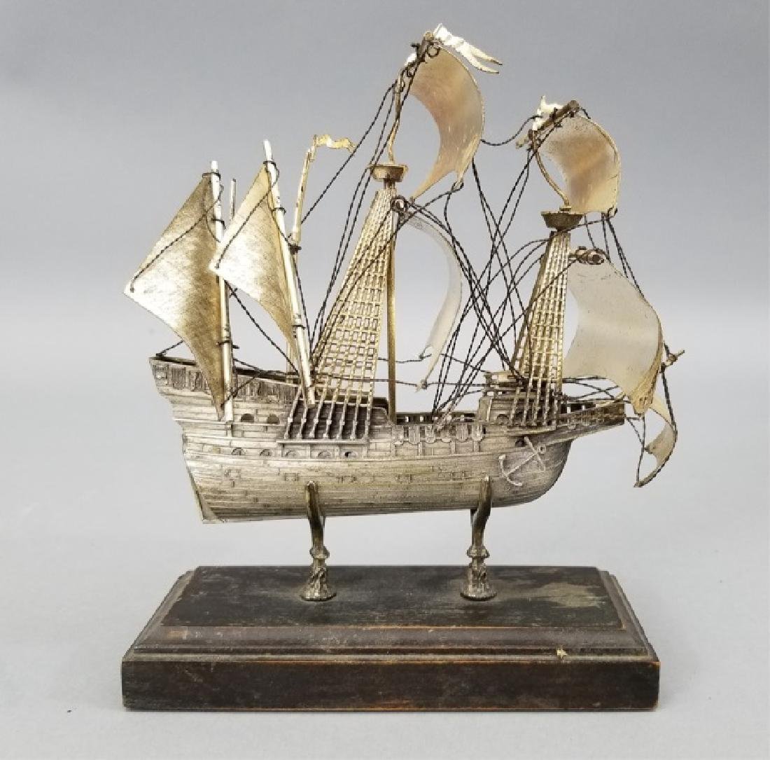 Antique 800 Silver Spanish Galleon Ship Statue