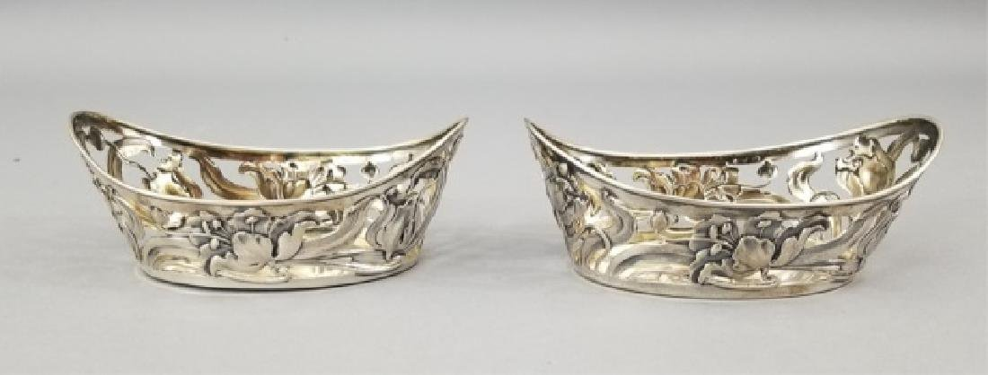 Pair Antique Art Nouveau 800 Silver Serving Basket