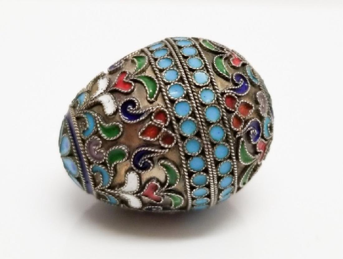 Russian Cloisonne Enamel Miniature Egg Box