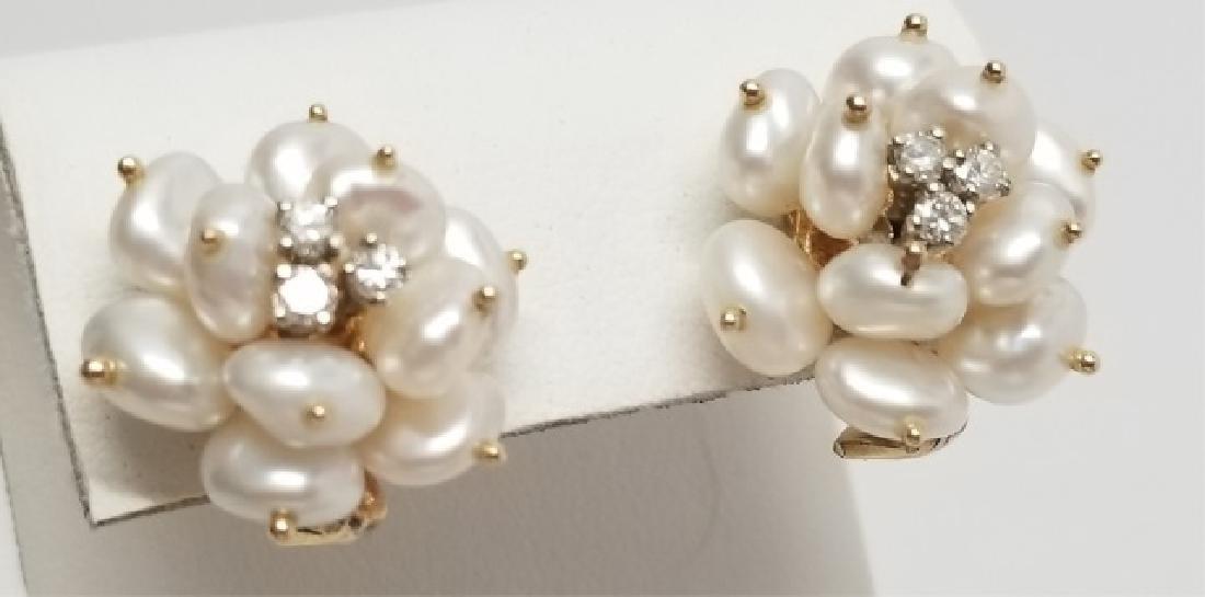 Estate 14kt Yellow Gold Diamond & Pearl Earrings