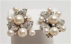 Pair Large Estate 14k Gold Pearl Diamond Earrings