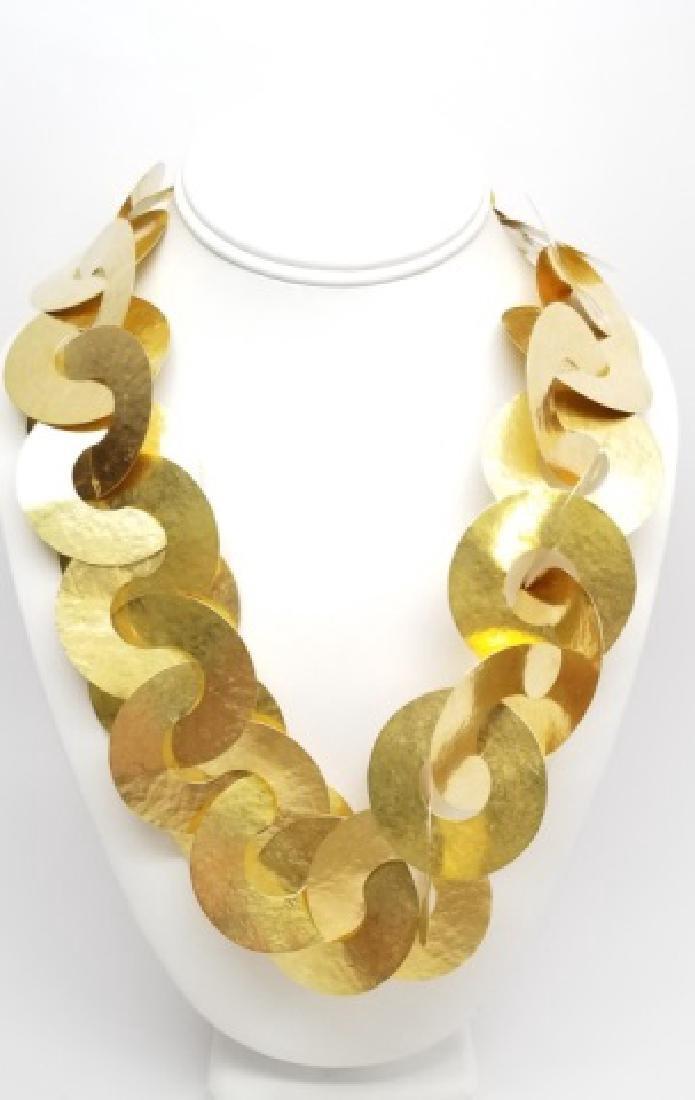 Estate 18kt Gold Hand Hammer Calder Style Necklace