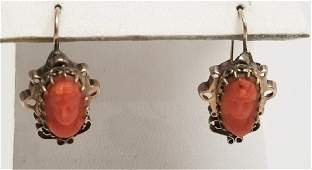 Antique 19th C Victorian Coral Cameo 14k Earrings