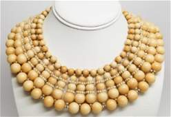 Vintage Miriam Haskell Faux Bone & Pearl Necklace