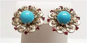 Trifari Sterling, Faux Turquoise & Ruby Pieces