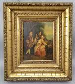 Antique 19th C Royal Court Scene Oil Painting