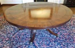 Contemporary Sheraton Pedestal Round Dining Table