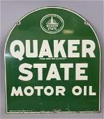 Vintage Double-Sided Quaker State Motor Oil Sign